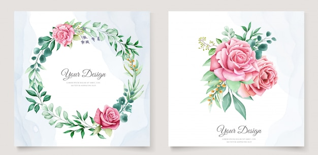 Elegant watercolor wedding invitation template