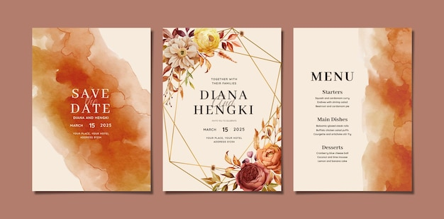 Элегантное акварельное свадебное приглашение с осенним цветочным рисунком