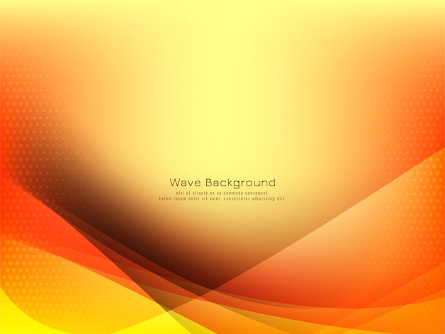Elegant wave design bright yellow background