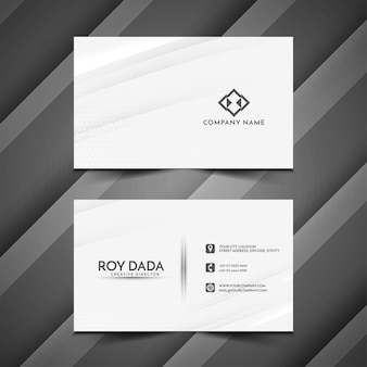 Elegant wave style business card template vector