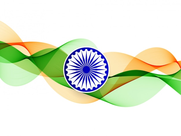 Elegant wavy indian flag background