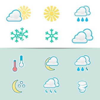 Набор иконок элегантная погода