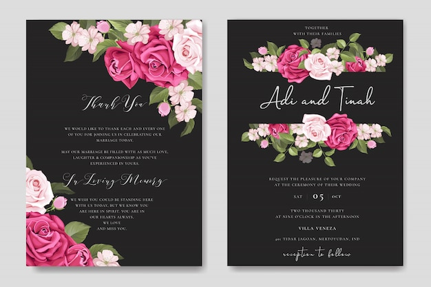 Elegant wedding card design with beautiful roses wreath template
