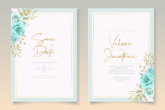 푸른 꽃과 우아한 웨딩 카드 디자인