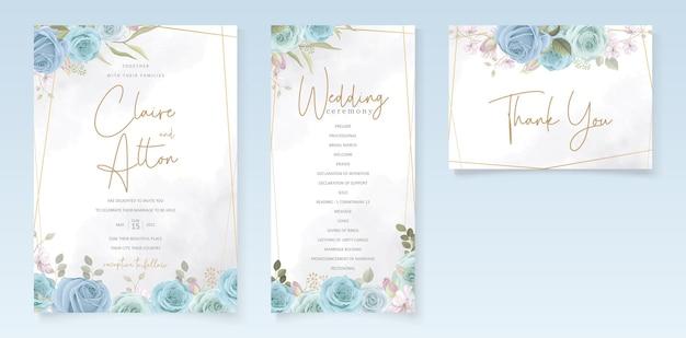 青い花とエレガントなウェディングカードのデザイン