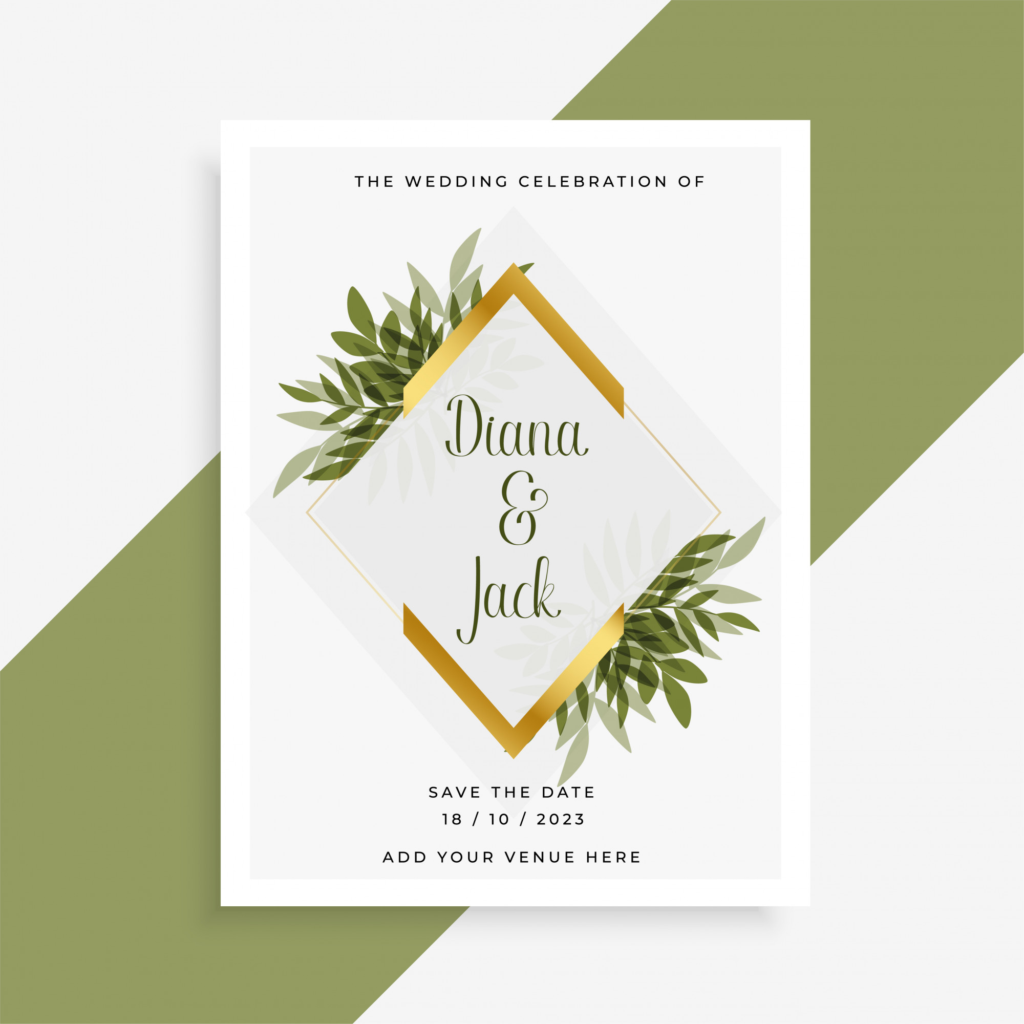 Elegant wedding card design with frame of leaves