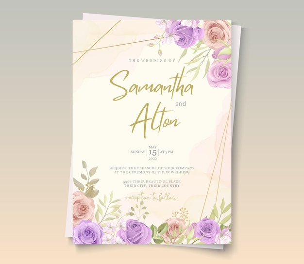 Elegant wedding card design with pink and purple roses ornaments
