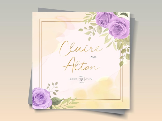 Elegant wedding card design with purple roses ornaments