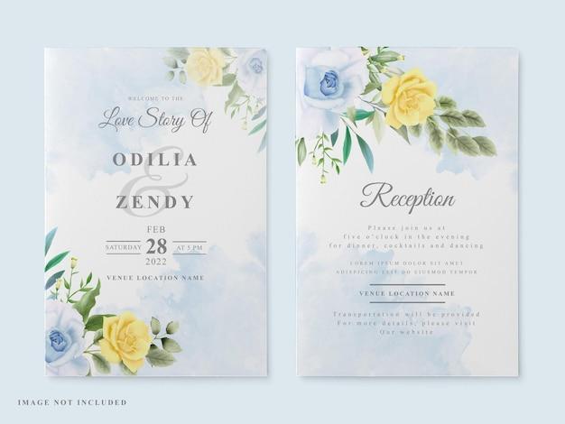 Элегантная свадебная открытка с цветочной акварелью