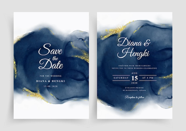 Elegant wedding card invitation  template with hand painted watercolor
