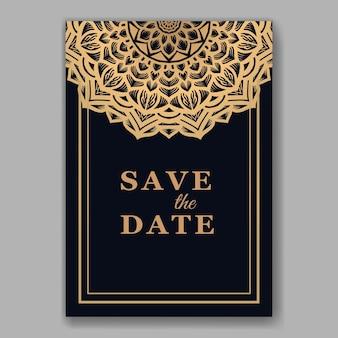 マンダラテンプレートとエレガントなウェディングカードの招待状