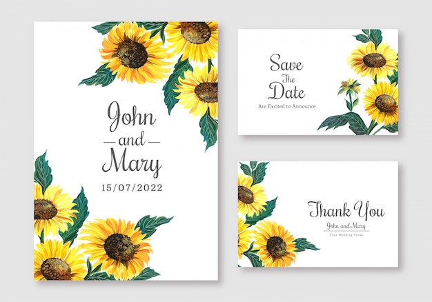 Elegant wedding card set template design
