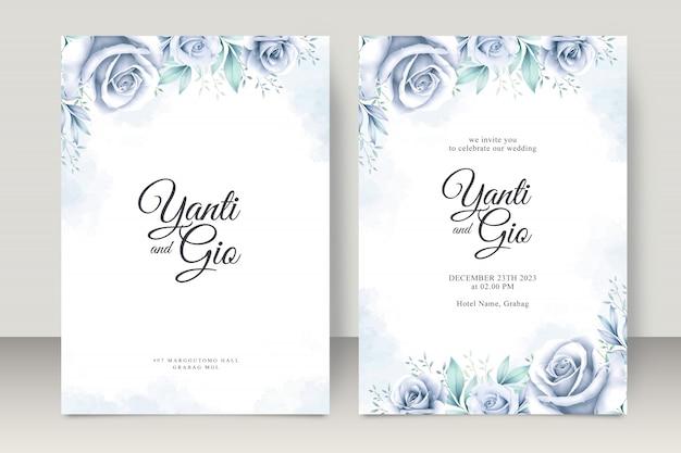 아름 다운 꽃 수채화와 우아한 웨딩 카드 설정 템플릿
