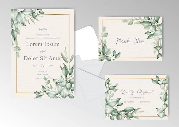 Elegant wedding card set with greenery floral