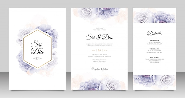Elegant wedding card set with peony watercolor