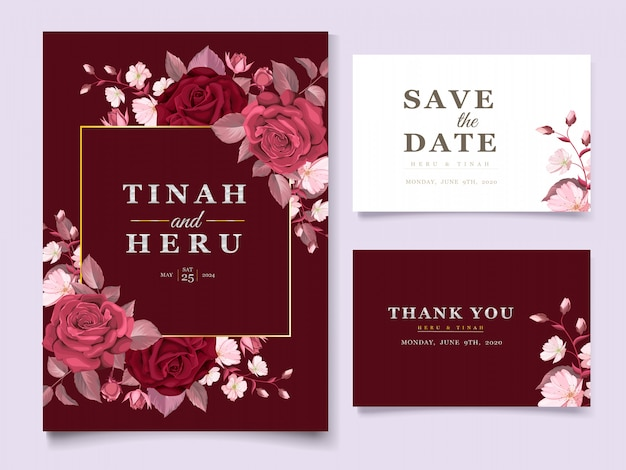Il modello elegante della partecipazione di nozze ha messo con floreale e le foglie marroni