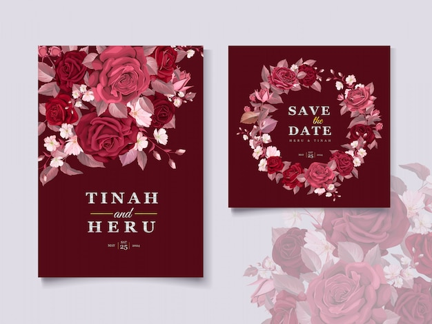 Elegant wedding card template set with maroon floral and leaves