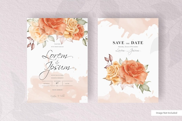 Elegant wedding card template set with watercolor and floral decoration. flowers illustration