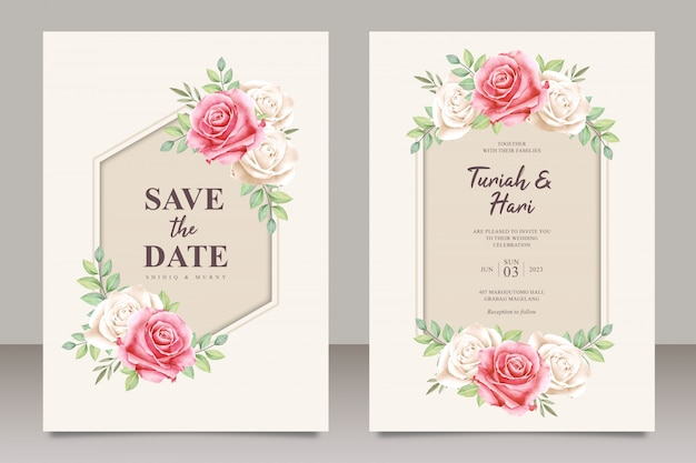 Elegant wedding card template with beautiful floral aquarel