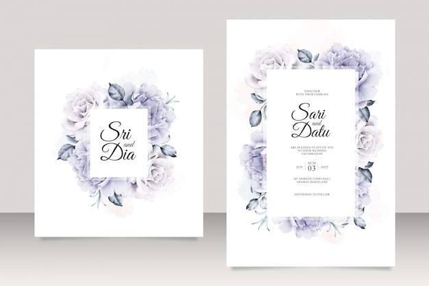 Elegant wedding card template with beautiful floral