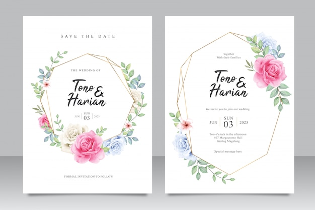 Elegant wedding card template with beautiful pink roses and leaves