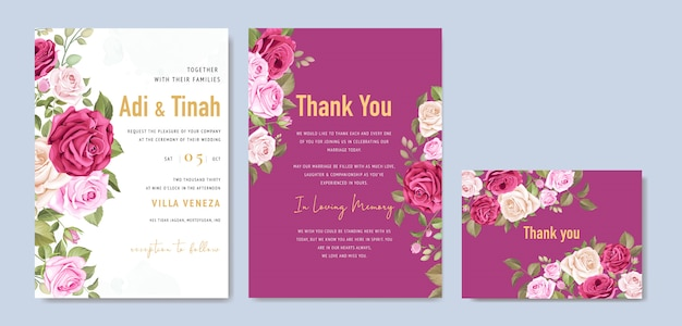 Elegant wedding card template with beautiful roses wreath