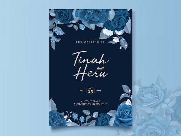 古典的な青い花と葉を持つエレガントなウェディングカードテンプレート