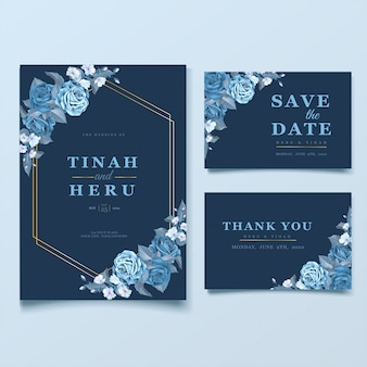 Elegant wedding card template with cleassic blue floral and leaves