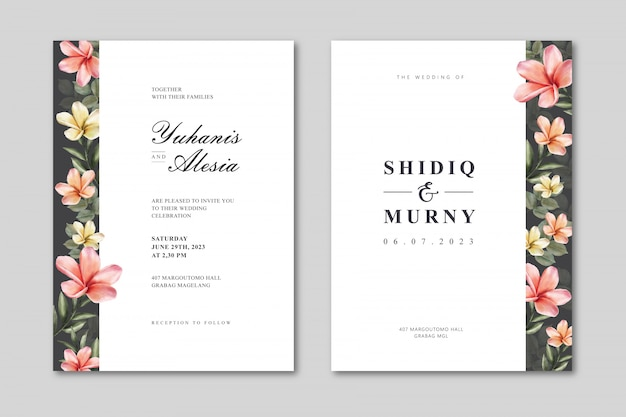 Elegant wedding card template with colorful floral watercolor
