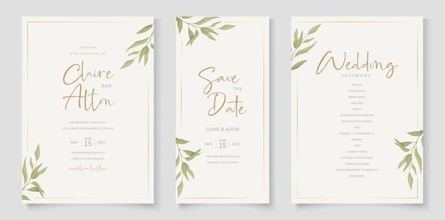 Элегантный шаблон свадебной открытки с орнаментом из листьев эвкалипта