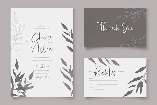 Elegant wedding card template with eucalyptus leaf ornament