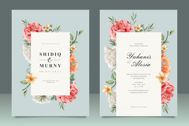 Elegant wedding card template with floral frame multi purpose