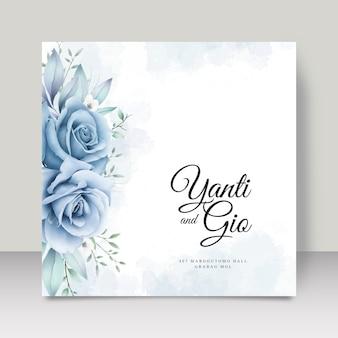 꽃 수채화와 우아한 웨딩 카드 템플릿