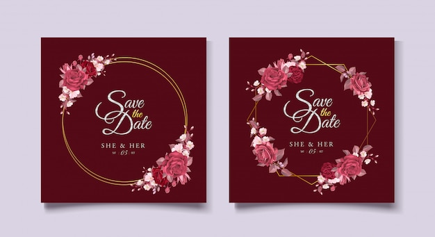 Elegant wedding card template with maroon floral and leaves
