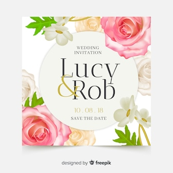 Elegant wedding card template with realistic flowers