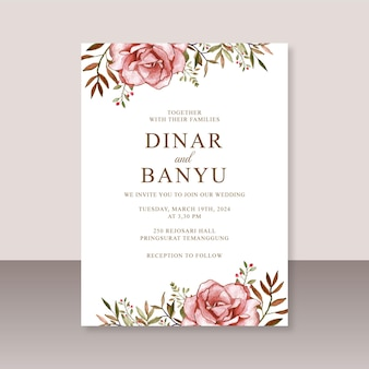 장미 꽃 수채화와 우아한 웨딩 카드 템플릿