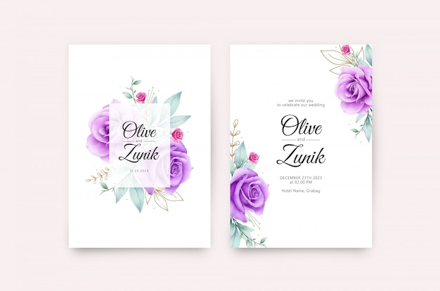 Elegant wedding card template with roses purple watercolor
