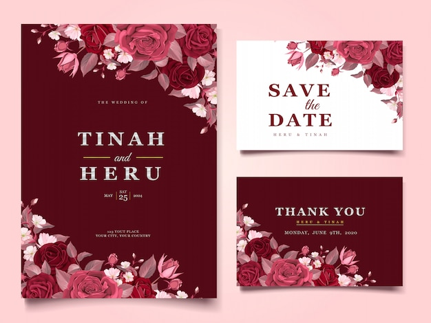 Elegant wedding card templates with maroon floral and leaves