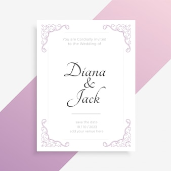 Elegant wedding card  in white color