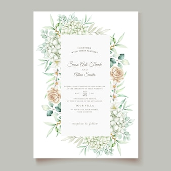아름다운 꽃과 잎 템플릿 우아한 웨딩 카드