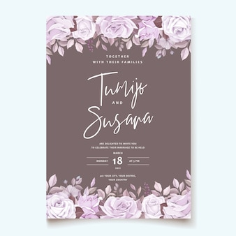 美しい花と葉のテンプレートとエレガントなウェディングカード