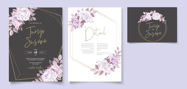 Elegant wedding card with beautiful floral and leaves template