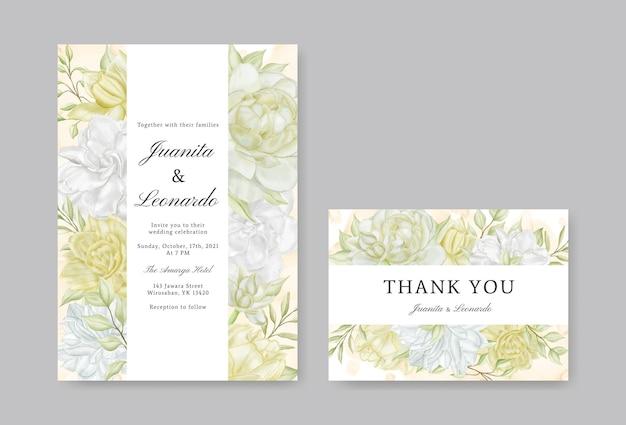 美しい花の水彩画とエレガントなウェディングカード