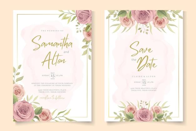 Элегантная свадебная открытка с красивыми розами