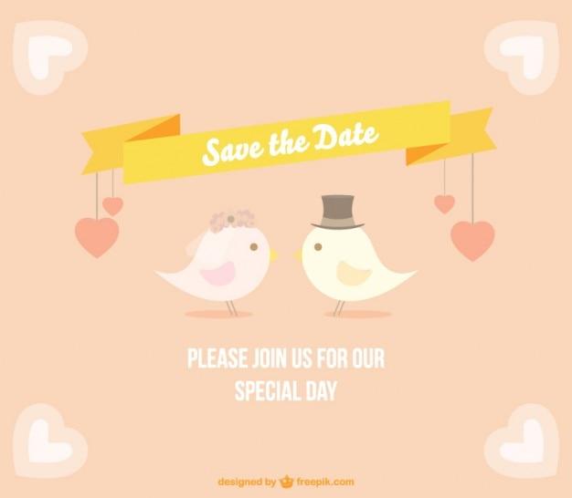 Elegant wedding card with birds Free Vector