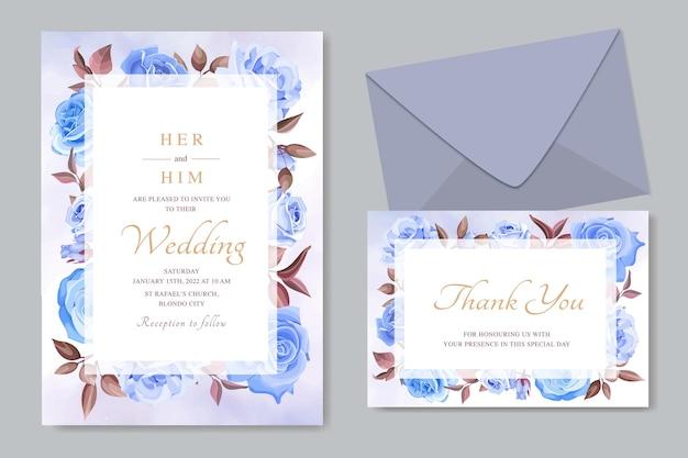 파란 장미와 우아한 웨딩 카드