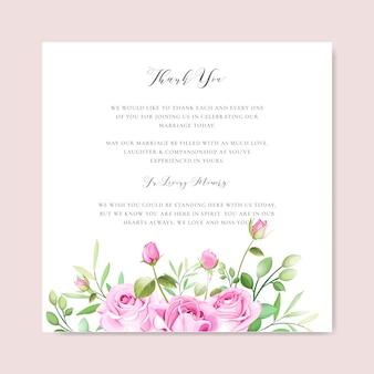 Elegant wedding card with floral and leaves frame template