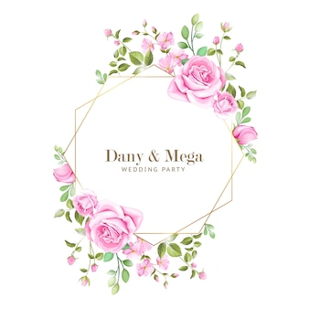 Elegant wedding card with floral and leaves frame