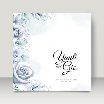 꽃 수채화와 우아한 웨딩 카드