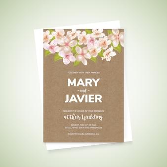 Elegant wedding card with flowers